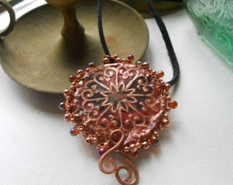 Exotic Fire Painted Copper Amulet