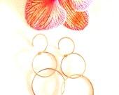 Simple Elegant Double Hoop Earrings 14k Gold Filled