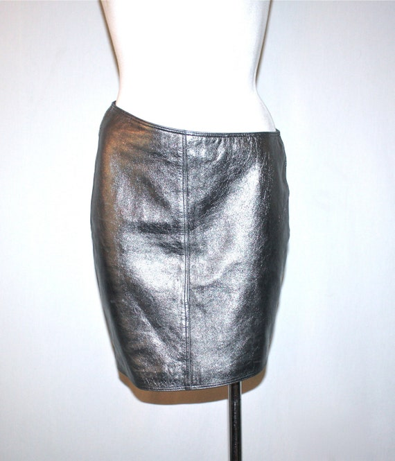 vintage gianni versace leather skirt silver by
