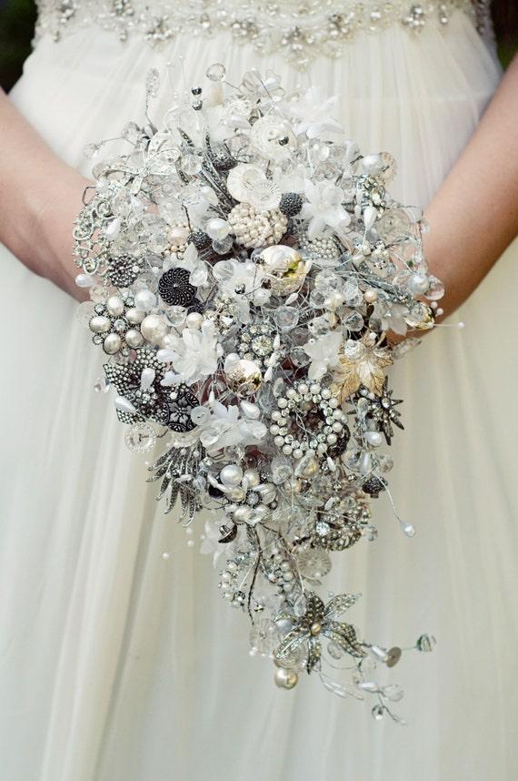Brooch bouquet - vintage crystal, button and brooch teardrop shower wedding bouquet