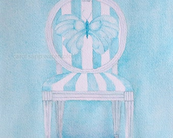 "watercolor butterfly french chair print of original watercolor 8"" x 10"""