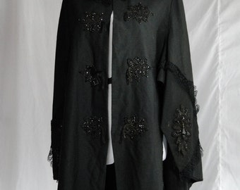 Cape, Victorian, 1890s antique, black, jet beading, DRAMATIC, damaged Grand Dame of the past needs a new home