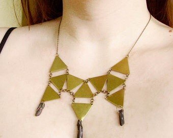 Geometric Bib Necklace, Quartz Necklace, Statement necklace