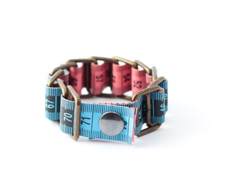 Tape measure bracelet  - Blue & Pink (2 colors)