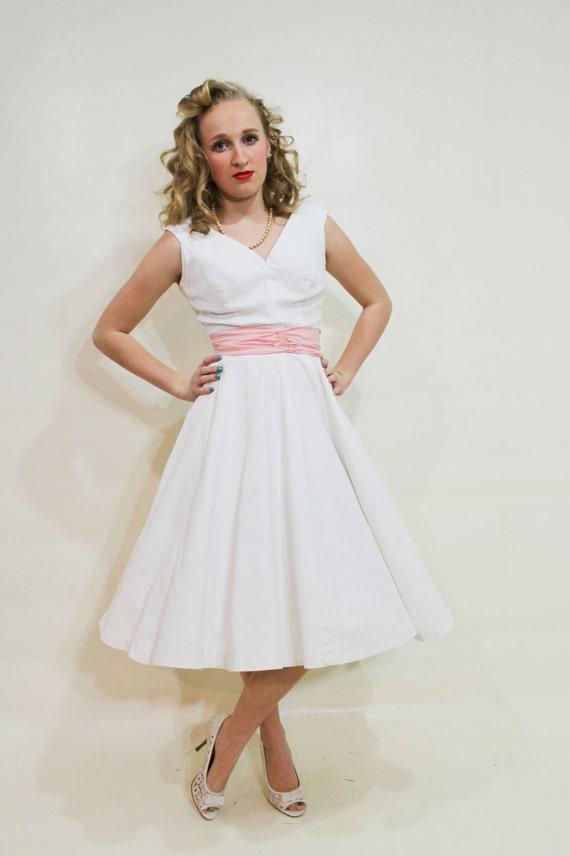 50s Party Dress Anne Fogarty White Sleeveless Full Skirt Small S Medium M Vintage 1950s Mad Men