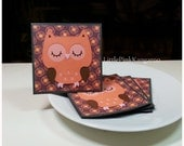 Coral Owl - Mini Cards Thank You Cards  ( Set of 4)