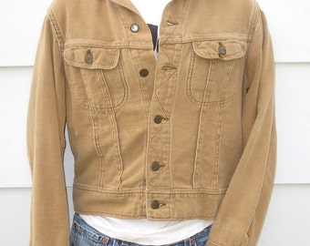 Vintage 1970s Lee Riders Tan Brushed Denim Cropped Cowboy Jacket-Size Medium Regular