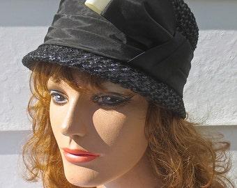 Vintage 1960's MAXINE HATS Designer Black Straw Hat w/Jaunty Ribbon Bow & Band