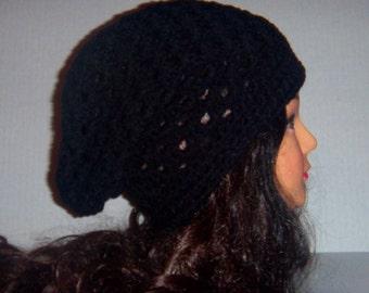 Crochet Black Slouchy Beanie Hat, Gift