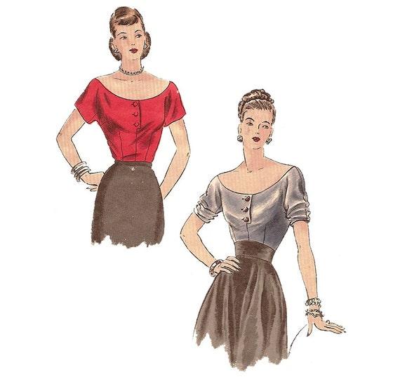 1940s Deep Round Neckline Blouse - Vogue 6238 Vintage Sewing Pattern - Bust 32 Size 14 - Off the Shoulder