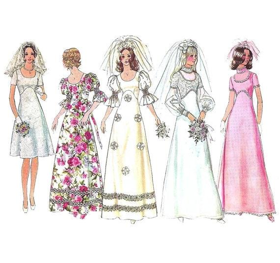 1970s Wedding Dress Bridesmaid Dress - Simplicity 5462 Vintage Pattern - Bust 36 Size 14 UNCUT FF