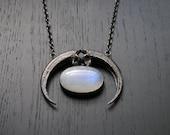 CLEARANCE - Amulet Of Europa - Eagle talon crescent moonstone necklace