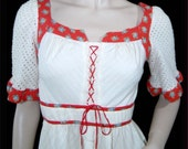 Vintage 1970s dress - Small- white cotton prairie - crochet and red calico - mint condition