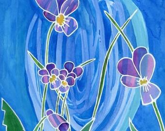 Flower Art Print - Violet Swirl - wildflower artwork, floral art, botanical wall art