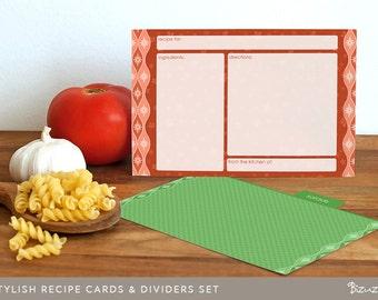 Recipe Cards Set, Printable, Editable PDF, Instant Download