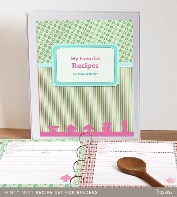 Printable Recipe Binder Set Editable PDF Cookbook Recipe