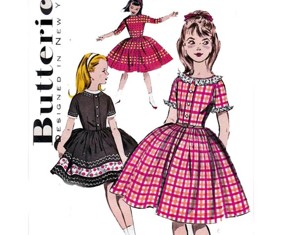 Butterick 9556 50s Vintage Sewing pattern Girls party dress size 7 Breast 25