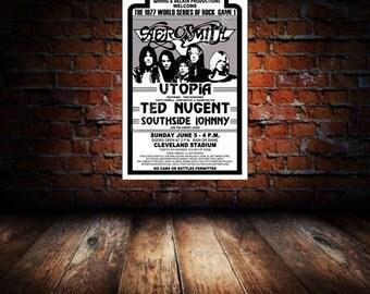 Aerosmith / Ted Nugent / Todd Rundgren 1977 Cleveland Concert Poster