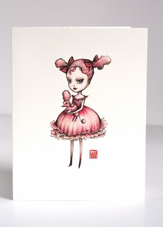 Last in Stock Vampoodle Love - Pink Poodle Perfection - 3 blank note cards - by Mab Graves