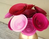 Vintage Valentine Gift; 12 Large Paper Flowers in Pink and Red; Modern Sweetheart Bouquet; My Funny Vintage Valentine