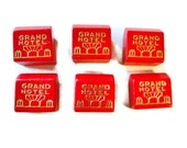 6 Monopoly Grand Hotels Vintage Wood Game Pieces