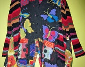 Black and Bright Butterfly sweater coat fits med thru 2x