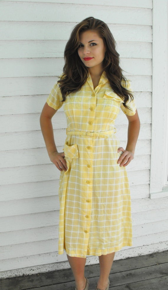 Vintage 50s Day Dress Ann Taylor Yellow Plaid Cotton Summer