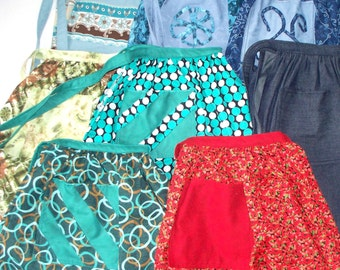 Half Apron Kitchen VarietyHandcrafted,Your Style Choice, Ready To Ship RTS,MTO,Polka Dots,Poppy Flowers,Swirls & Waves,Teal,Garden Party