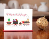 Jingle Bells and Whistles Train 10 Pack of Modern Holiday Cards on 100% Recycled Paper