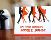 Boogie Down - Birthday Card with Dancing Silhouettes on 100% Recycled Paper