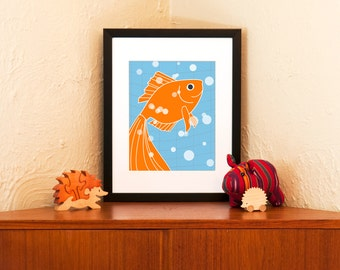 Go Go Goldfish Print - Tangerine & Aqua Wall Decor 8 x 10 Size (Free Shipping in US)