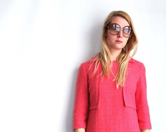 JAEGER Hot Pink Dress - Vintage Wool Boucle Frock - Medium