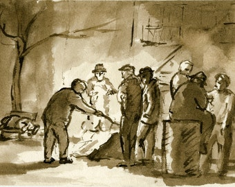 Bowery Garbage Can Fire, Lower East Side, NYC. Original Pen and Ink Drawing, Ashcan Realist New York City Artwork, Signed Original Fine Art