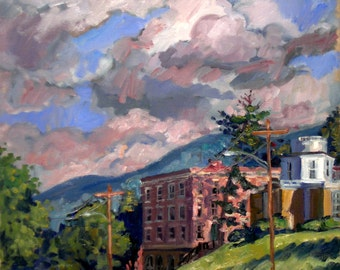 Summer Clouds, Williams College. Realist Painting, Oil on Canvas, 14x14 Plein Air Impressionist Landscape, Signed Original Fine Art