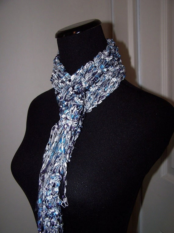 Knit Scarf Blue and White Fashion Scarf for Women Teens Ribbon Yarn  Knit Scarves For Teenagers