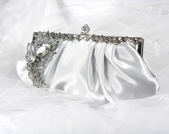 White Bridal Clutch, Satin Bridal Clutch with Crystal Peacock Feather Brooch, White Clutch, Wedding Clutch, Wedding Purse