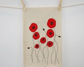 SALE - Red Poppy Flowers Tea Towel on Natural Dish Cloth