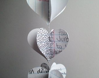 Paper Heart Garland - Repurposed Notebook Paper - World Lit Notebook - Triple Decker Hearts