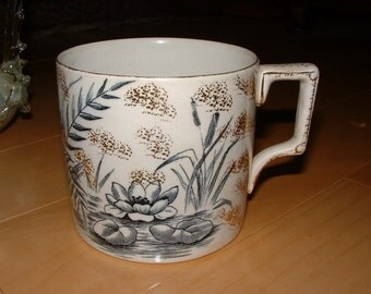 Antique English Porcelain Cup / Mug with Transferware Waterlily
