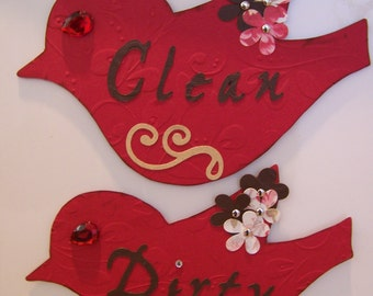 Clean Dirty Dishwasher Magnet's Red Bird