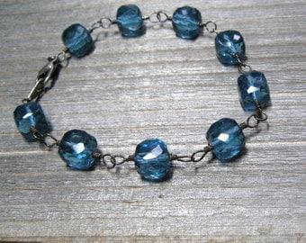 Blue Topaz Bracelet,  Oxidized Sterling Silver,  December Birthstone,  Blue Stone Handmade Jewelry