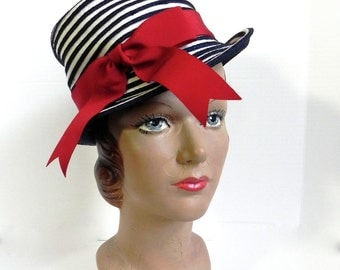 Vintage 60s Hat Couture Blue and White Striped Hat with Wide Red Band - on sale