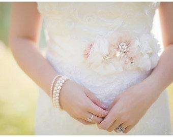 Pale Blush and Ivory Bridal Sash, Petal Pink Wedding Belt, Flower Sash, Pearls and Crystals - BARELY BLUSH
