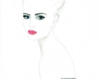Watercolour fashion illustration Titled Gazelle
