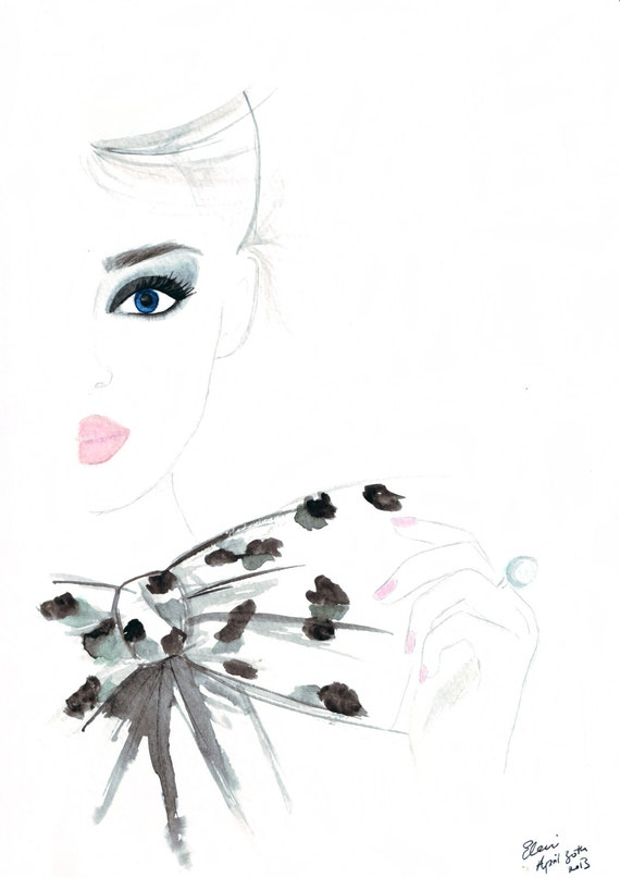 Watercolour fashion illustration Titled Bow Top