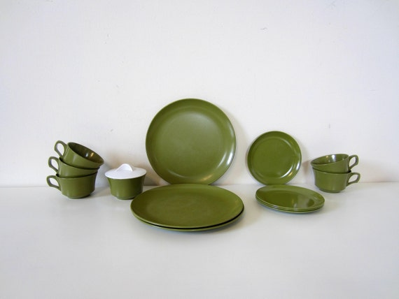 vintage camper / rv kitchen dishes, retro avocado green melamine plates, cups, pop up, outdoor, camping supplies