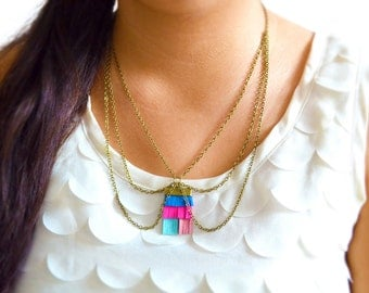 Neon Chain Collar Necklace Fringe Pendant Tassel and Chainmaille