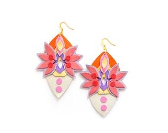Geometric Earrings Neon Leather Jewelry,  Spike Faux Rhinestone Gems, Big Statement Earrings
