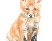 Baby Fox Watercolor Painting 8 x 10 Fine Art Giclee Reproduction - Woodland Animal Art Print 8.5 x 11