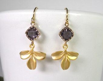 Three Leaves Drop Earrings, Dangle Earrings, Gold Plated earrings, wedding earrings, Amethyst Faceted, Amethyst and gold earrings